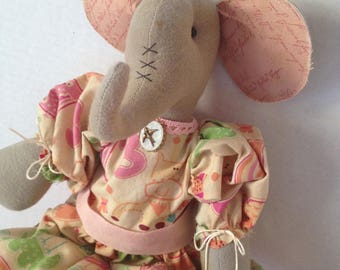 Handmade Elephant Doll, Art Doll Elephant, Handmade Primitive Elephant, Primitive Elephant, Elephant Doll