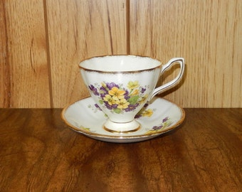 Taylor & Kent Bone China Teacup and Saucer Made in England Purple and Yellow Floral