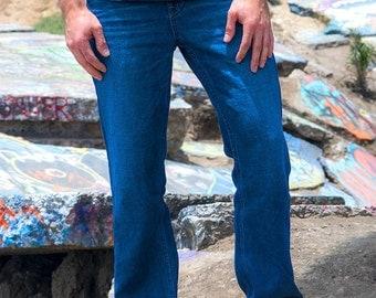 Mens Dark Wash Hemp Denim Jeans