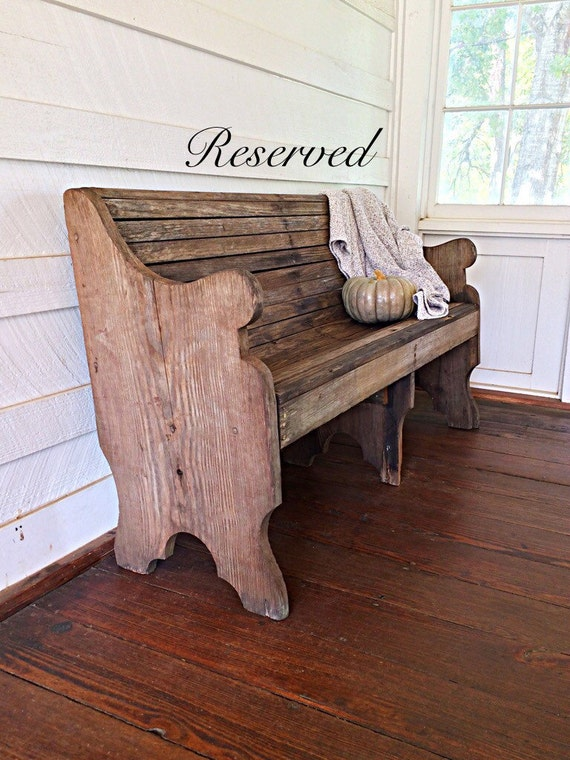 On Hold Late 1800s Antique Wooden Church Pew Vintage Pew