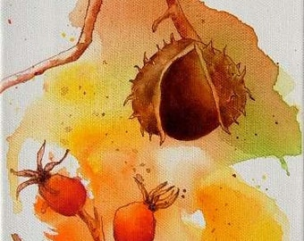 Acrylic painting acrylic painting art painting canvases chestnut hips original fall picture mural
