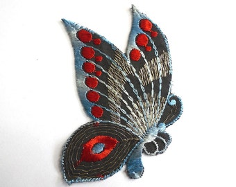 Patch, Butterfly applique, 1930s vintage embroidered applique. Vintage patch, sewing supply. Applique, Crazy quilt. #6A7GB8KF