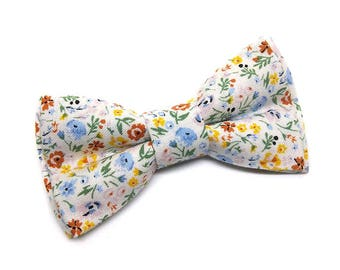 Pet Bow Tie, Cat Bowtie, Dog Bow Tie, White Vintage Style Floral, Pretty Flowers, Summer, Spring, Paw Parade