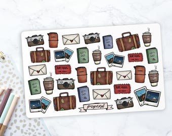 Vintage Travel ILLUSTRATED STICKERS | Stickers for Decoration, Scrapbooking, Planning, Journalling | Hand Drawn | Vintage Style Stickers