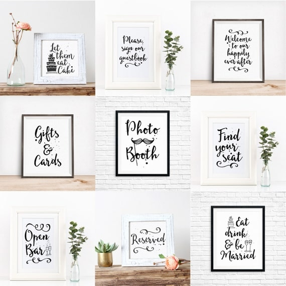 Bundle: 9 Printable Wedding Signs, Reception Signs, Table Decorations, DIY Wedding, Typography Art, Digital Download Print, Quote Printables