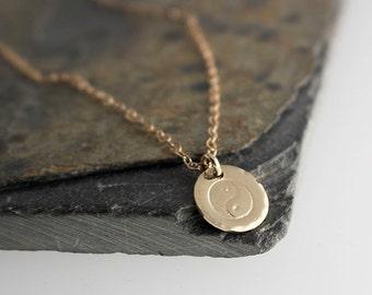 Gold Yin Yang necklace Yoga charm necklace Tiny Yin Yang charm Gold Charm Minimalist Jewelry Delicate Jewelry Minimal Charm 10mm Necklace