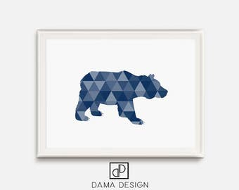 Bear Printable, Navy Blue Art, Triangle Bear, Geometric Animal Decor, Blue Nursery, Bear Nursery, Kids Room Art, Triangle Mosaic Animals