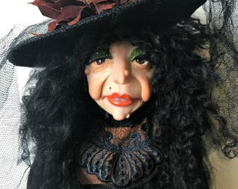 Halloween Witch,Sitting  Witch Doll, Halloween Decoration, Art Doll, Polymer Clay Doll,