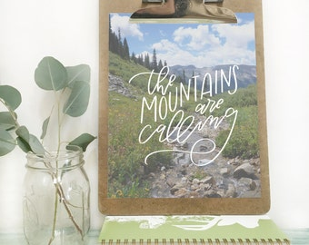 The Mountains Are Calling . Hand-lettered print . 8x10 . photo print . Colorado . four pass loop . Aspen, CO . mountains . gallery wall
