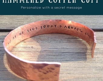 Hammered Copper Bracelet with Secret Message, Gift for Bridesmaid, Women's Copper Cuff Bracelet, Wedding Party Gift, Personalized Cuff