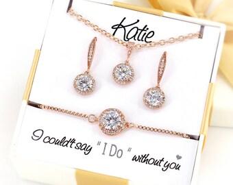 Wedding Necklace Wedding Earrings Bridesmaid Bracelet Zirconia Jewelry set CZ Earrings Wedding Jewelry Bridesmaid Earrings Bridesmaid Gift