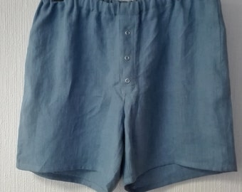 """Men's linen pajamas.Snap button closure/ Stone washed. Flax linen shorts.Boxer shorts men.Men""""s  shorts. Designed and made by AnBerlinen"""