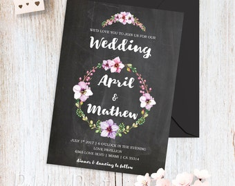 Floral Wedding Invitations Printable Wedding Invitation Kit Bohemian Summer Wedding Invites Pink Chalkboard Invitation Spring Wedding Invite