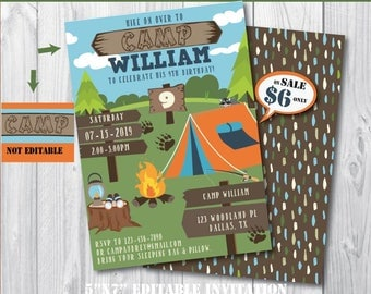 Camping Invitation-Self-Editing Printable Camp Out Birthday Invitate-Summer Party-Bonefire Birthday-Campfire-Camping Tent Party-A129-B