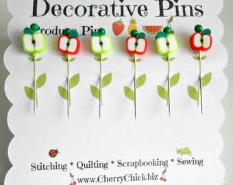 Decorative Sewing Pins - Produce Pins - Sewing Pins - Card making Pins - Scrapbooking Pins - Quilting Pins - Apple Sewing Pins - Fruit Pins
