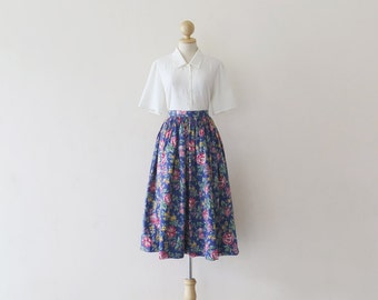 1980s Blue Flower Midi Full Skirt / Vintage Japanese / XS extra small / uk 4 6