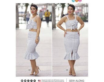 Sewing Pattern Mimi G Style Misses' Top and Skirt, Miss & Plus Sizes, Simplicity Pattern 8394, Two Piece Dress, Crop Top, Pencil Skirt