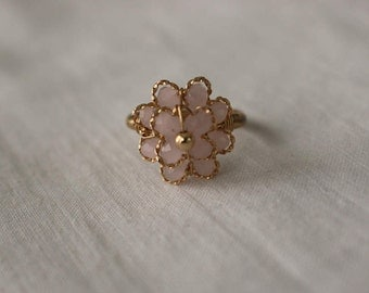Glass Beaded Flower Ring - Large