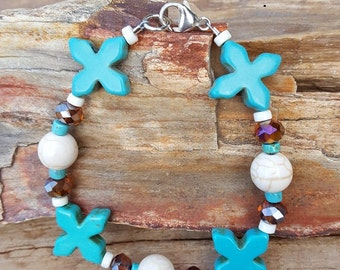 Large Cross Turquoise Magnesite and Crystal Gemstone and Sterling Silver Bracelet, Turquoise Cross and Sterling Silver Bracelet