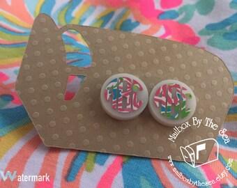 Monogram Lilly Pulitzer Inspired Monogram Earrings | Monogram Earring | Bridesmaids Gifts | Greek Gift | Birthday Gift | Preppy Gift