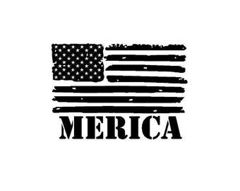 Merica American Flag Decal with FREE SHIPPING