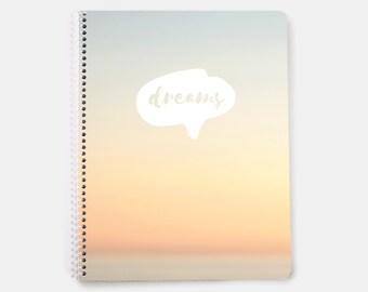 Dreams Notebook - dream tracker - 2017 goal journal - ideas notebook - dream log - idea journal - cute journal - spiral notebook
