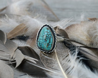 Western Turquoise Ring, Size 8, Modern Turquoise Ring, Simple Turquoise Ring, Real Turquoise Ring Rope Turquoise Ring Genuine Turquoise Ring