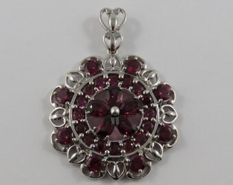 Sterling Silver Deep Pink/Red Glass Cluster Pendant