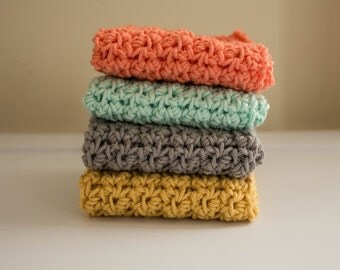 Knit Dish Cloths- Choose your color-Cotton Dish Rag- Dish Towels- Wash Cloth - Set of 4 dish cloths, crochet dish cloth, mint, coral, yellow