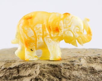 Amber sculpture of Elephant | Carved Baltic amber | Unique collectible figurine | Rich butterscotch amber | ELEPHANT statue | AMBER AV0325