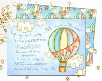 Hot Air Balloon Baby Shower Invitation, Gender Neutral Baby Shower Invitations, Up, Up and Away Baby Shower, Hot Air Balloon
