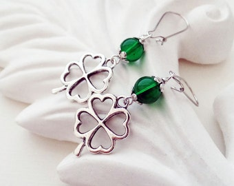 Silver Clover Earrings | Irish Earrings | Shamrock Earrings
