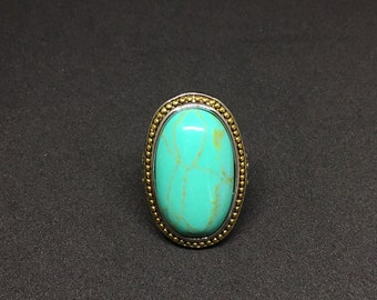 18k Gold High Polish Layered Lead Free Jewelry Turquoise Stone Large Ring