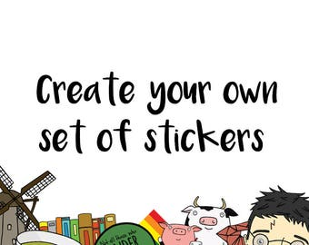 CUSTOM STICKER SET - Cute Stickers - Planner Stickers Sale - Sticker Pack Accessories/Stamps, Gift - Laptop Sticker Kit/Pack - Sticker Shop