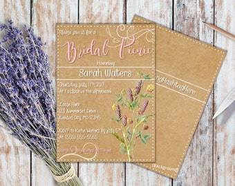 Picnic Bridal Shower Invitation, Wedding Shower Invitation, Bridal Shower Invite, Bridal Picnic Invite, Printable File Invitation