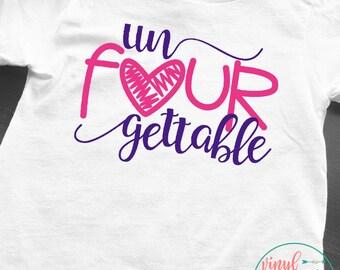4 year old birthday shirt, un FOUR gettable birthday shirt, Birthday Girl, Birthday Tee, Birthday Shirt, 4 year old, 4 year old birthday tee