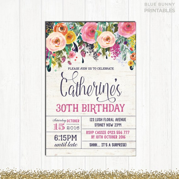 30th birthday invitation adult woman floral invitation rustic high il570xn stopboris Images