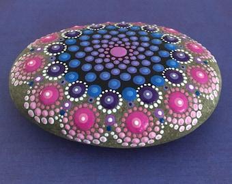 Large Hand Painted Mandala River Stone
