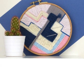 Geometric modern embroidery wall, frame deco embroidery, embroidery graphics, interior decoration, tapestry, made in France, nayquach