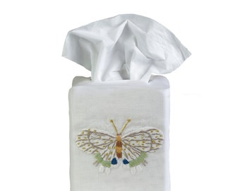 Hand Embroidered Fishers Butterfly Tissue Box Cover