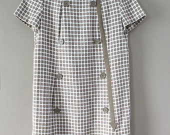 Christmas Special! Vintage Shannon Rodgers for Jerry Silverman Secretary Dress, Short-sleeve Brown & White Checkered w/ Arrow Design