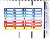 Happy PATRIOTIC Weekly Habits Labels Stickers Vertical Horizontal Erin Condren Life Planner ECLP Mambi Create 365 Cute July Red Blue BBQ