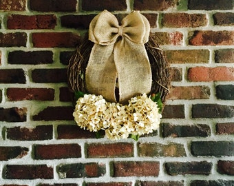 Hydrangea Wreath-Spring Wreath-Front Door Wreath-Everyday Wreath-Summer Wreath-Rustic Wreath-Wreath-Year Round Wreath-Spring Decor