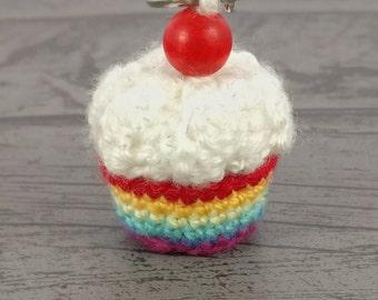 Cute keyring, rainbow cake bag charm, cupcake accessories, baker gift, teacher gift, baker foodie gift, kawaii food charm, gift under 5