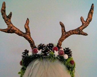 Winter Christmas Headpiece Faun Antlers Headdress Cosplay Costume