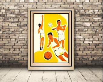 A Vintage Retro Digital Download to print a poster for Basketball. Basket Ball Players. Health and Fitness. Wall Art Kid's in Sports