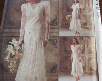 McCalls 6948 Women's Elegant Vintage Lace Wedding Dresses Sewing Pattern