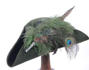 Green Hand Made Fur Felt Tricorn Hat With Lucious Plume