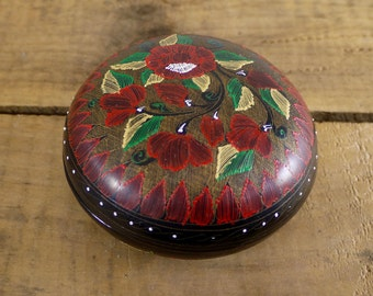Black Lacquer Hand Painted Floral Motif Round Trinket Jewelry Box