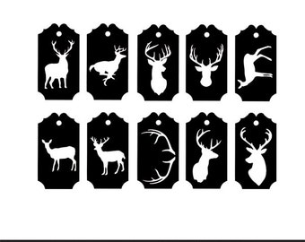 deer gift tags labels svg dxf jpeg png file stencil monogram frame silhouette cameo cricut clip art commercial use